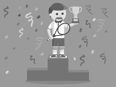 tennis player winning a trophy black and white style