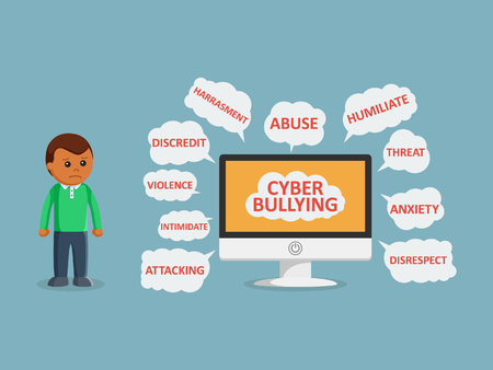 Illustration pour African man and cyber bullying on monitor - image libre de droit