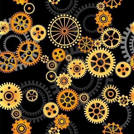 seamless vector pattern- gears on dark background