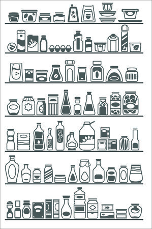 store shelves with different goods