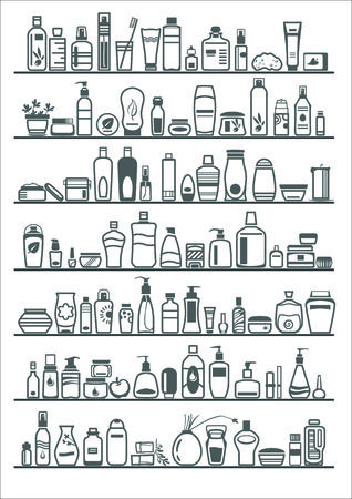 different cosmetic products for personal care, vector illustration