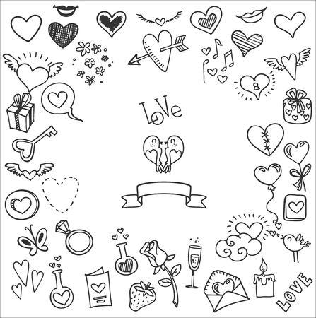 Illustration pour sketchy love and hearts doodles, vector illustration - image libre de droit