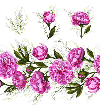Ilustración de Endless brush pattern with spring peony flowers and greenery. hand-drawn Doodle in a realistic style. pink elements, horizontal border for seasonal design. vintage style. - Imagen libre de derechos