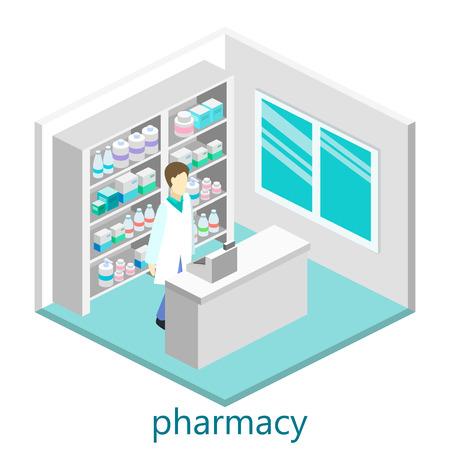 Ilustración de Isometric interior of pharmacy - Imagen libre de derechos