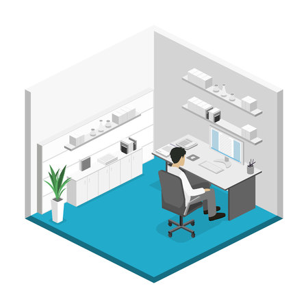 Flat 3d isometric abstract office floor interior departments concept. Set of isometric business people , info graphic vector design