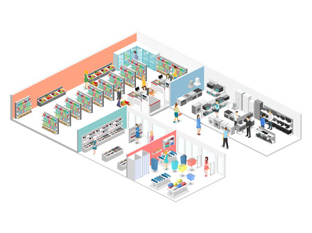 Illustration for isometric interior of shopping mall, grocery, computer, household, equipment store. Flat 3d vector illustration - Royalty Free Image