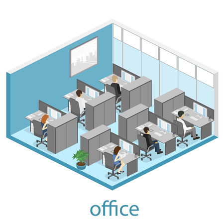 Flat 3d isometric abstract office floor interior departments concept vector. illustration of office