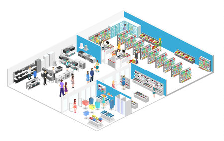 isometric interior shopping mall, grocery, computer, household, equipment store. Flat 3d vector illustration.