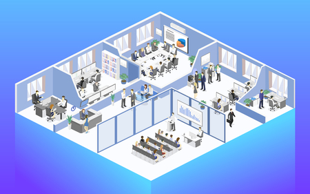 Illustration pour Isometric flat 3d abstract office floor interior departments concept vector. conference hall, offices, workplaces, director of the office interior - image libre de droit
