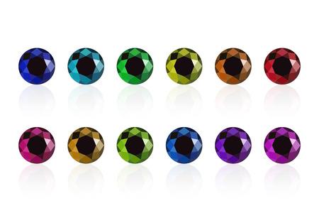 Illustration pour synthetic diamond cubic zirconia set semiprecious gems isolated on white - image libre de droit