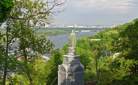 Photo for Monument to Vladimir the Baptist of Rus on the Vladimir Hill in Kiev on a sunny spring day - Royalty Free Image