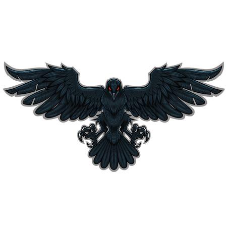 Illustration pour Stylized flying black raven - image libre de droit