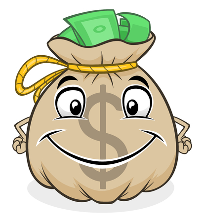 Illustration for cute bag with money - Royalty Free Image