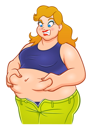 Illustration for Funny cartoon fat woman - Royalty Free Image