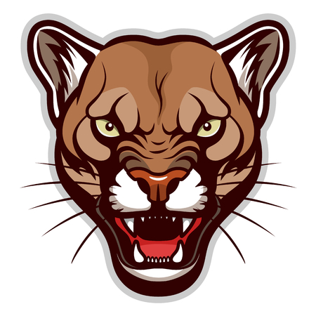 Illustration for Angry cougar head - Royalty Free Image