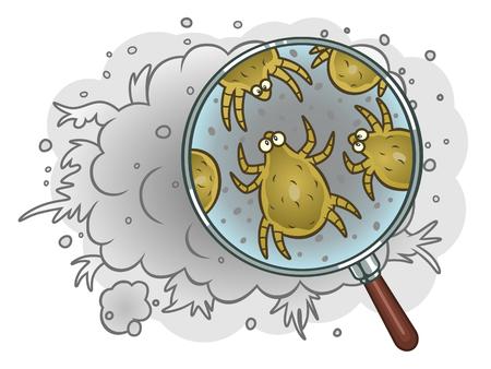 Illustration pour Dust mites in dust - image libre de droit