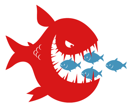 Illustration pour Small fishes in the mouth of big fish - image libre de droit