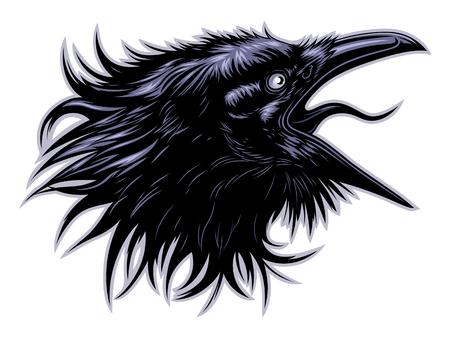 Illustration pour Screaming raven head - image libre de droit