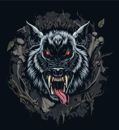 Illustration pour Werewolf head illustration with background - image libre de droit