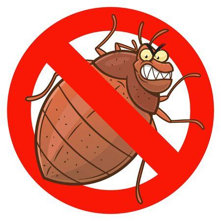 Illustration pour Anti bedbug cartoon sign - image libre de droit