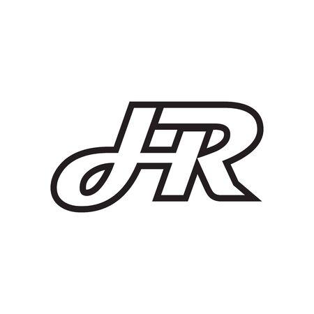 Illustration pour H R script letter lines design vector - image libre de droit