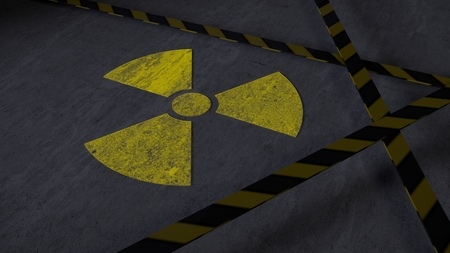 Dirty nuclear warning sign on concrete with warning planks (3d rendering)