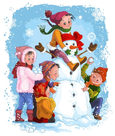 Vector illustration, winter games, children and snowman  Card concept