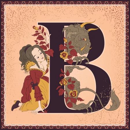 Vintage children fairy tales book alphabet  Letter B  Beauty