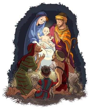 Nativity Scene with Jesus Mary Joseph and shepherds