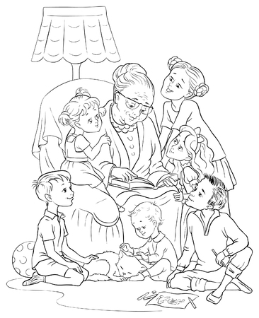 Grandmother  sitting in chair reads a book to her grandchildren. Colouring page