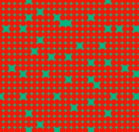 Seamless pattern with red circles on green background