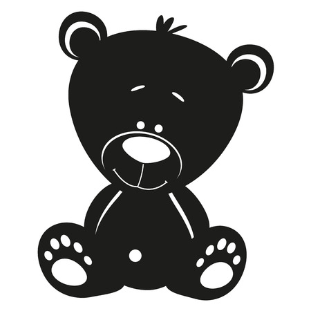 Illustration for Silhouette Teddy bear on white background - Royalty Free Image