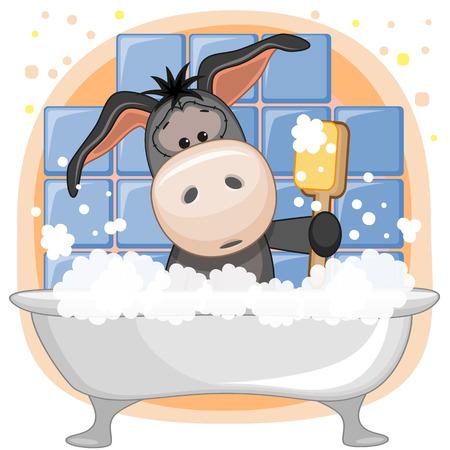 Cute cartoon Donkey in the bathroom