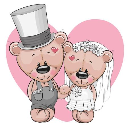 Foto de Teddy Bride and Teddy groom on a heart background - Imagen libre de derechos