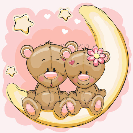Illustration pour Two Cute Bears is sitting on the moon - image libre de droit
