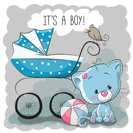 Photo pour Greeting card it's a boy with baby carriage and cat - image libre de droit
