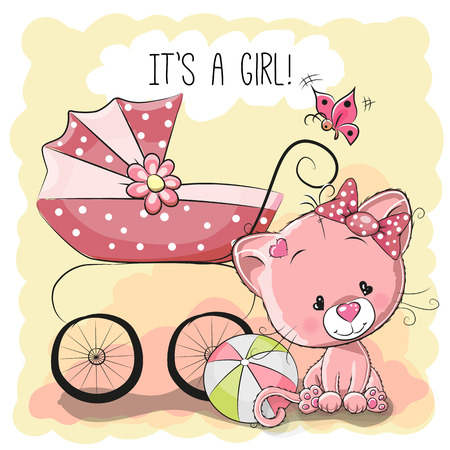 Illustration pour Greeting card it's a girl with baby carriage and cat - image libre de droit