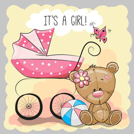 Photo pour Greeting card it's a girl with baby carriage and teddy bear - image libre de droit