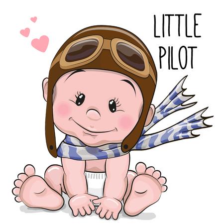 Photo pour Cute Cartoon Baby boy in a pilot hat and scarf - image libre de droit