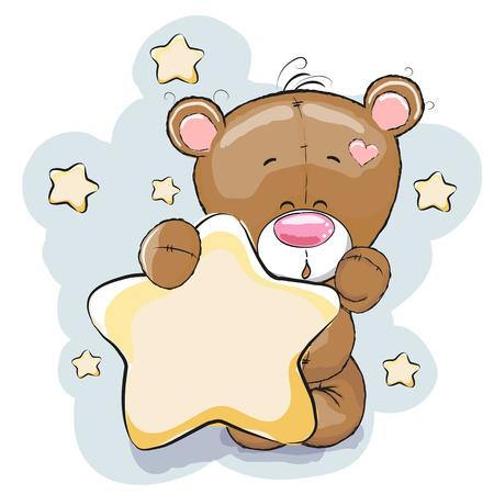 Foto de Teddy Bear with Star on a stars background - Imagen libre de derechos