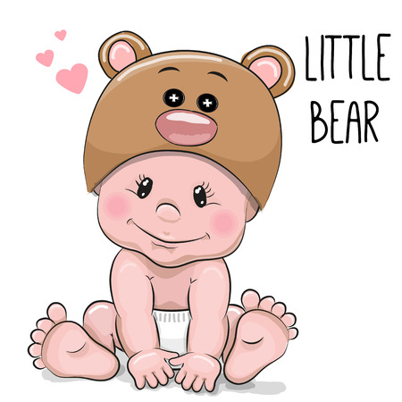 Photo pour Cute Cartoon Baby boy in a Bear hat on a white background - image libre de droit