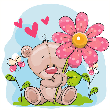 Illustration pour Greeting card Bear with flower and hearts - image libre de droit