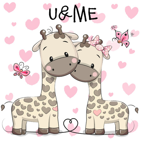Two cute giraffes on a hearts background