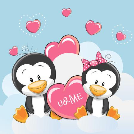 Illustration pour Valentine card with Cute Cartoon Lovers Penguins - image libre de droit