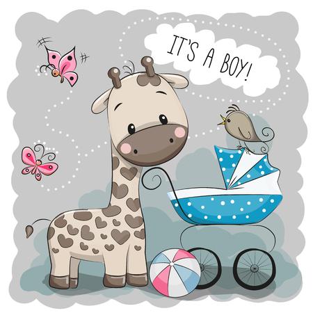 Foto de Greeting card it's a boy with baby carriage and Giraffe - Imagen libre de derechos