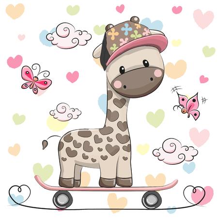 Foto de Cute Giraffe wiht a cap on a skateboard and butterflies - Imagen libre de derechos