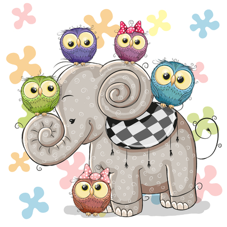 Illustration for Cute Cartoon Elephant and Five Owls on a flowers background - Royalty Free Image