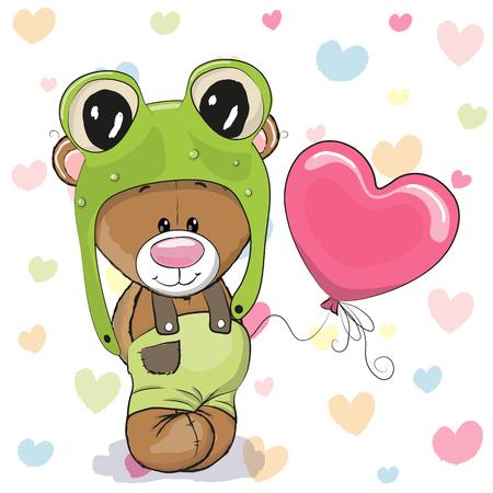 Ilustración de Cute Cartoon Teddy Bear in a frog hat with balloon - Imagen libre de derechos