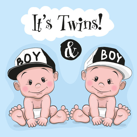 Foto de Two cute cartoon twins boys on a blue background - Imagen libre de derechos