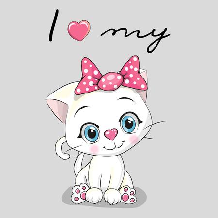 Cute cartoon White kitten on a gray background